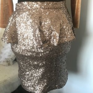 Gold peplum sequin mini skirt